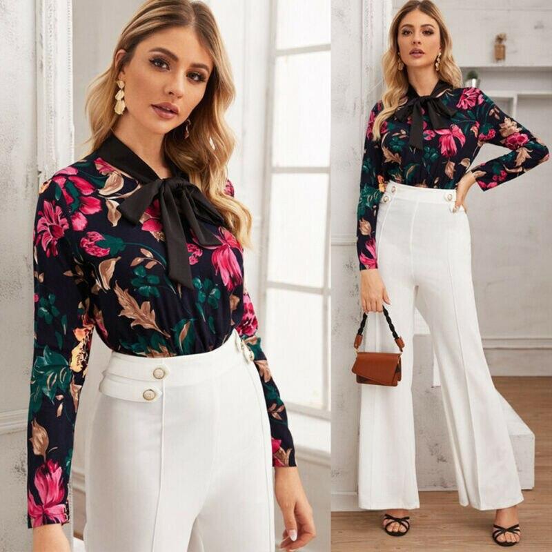 US Women Floral Long Sleeve Bandage Bodysuit Leotard Tops Blouse Jumpsuit Romper Print Casual Bodysuits