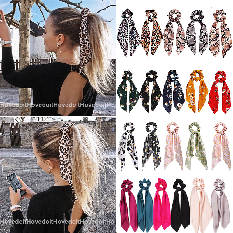 Ponytail Scarf Hair-Accessories Bow Scrunchies Elastic-Hair-Bands Long-Ribbon Satin Leopard Print