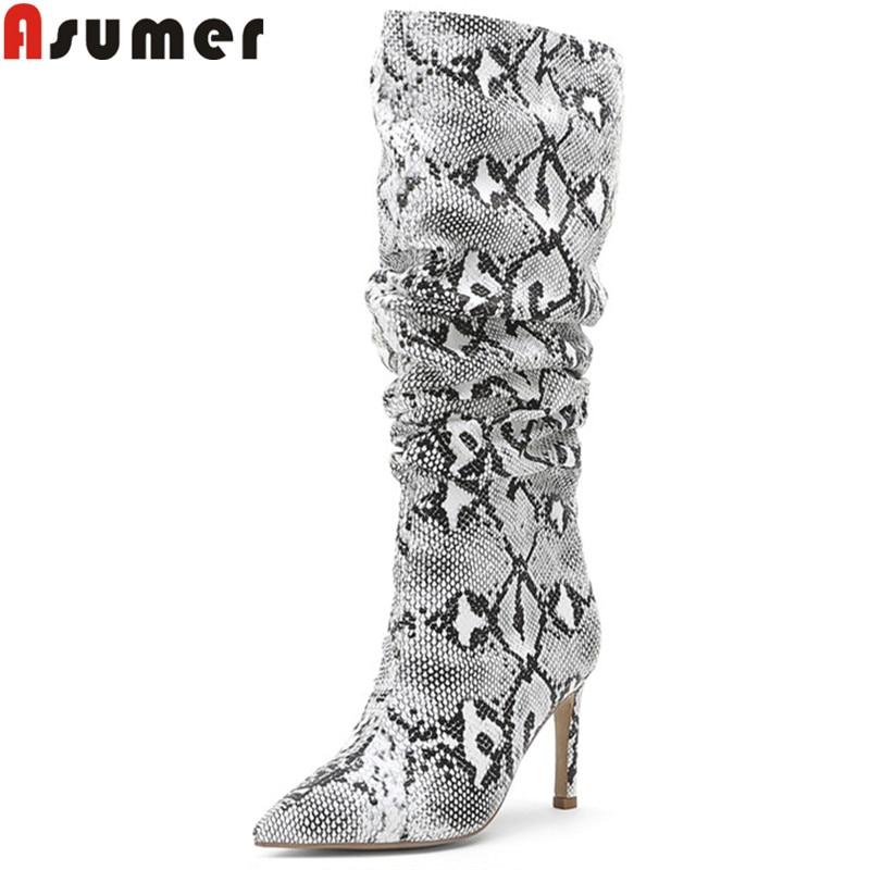 ASUMER grande taille 34-45 mode mi-mollet bottes femmes bout pointu sans lacet rides bottes de bal tigh talons automne hiver bottes 2020