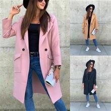 Зимние женские пальто однотонная длинная куртка с отложным воротником