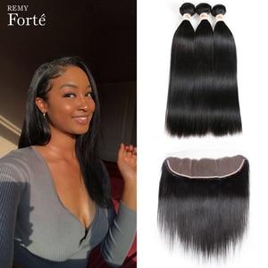 Remy Forte, 30 дюймов, пучки с закрытыми прямыми волосами, пучки с фронтальной передачей волос Remy, бразильские пучки волос, 3/4 пучка волос