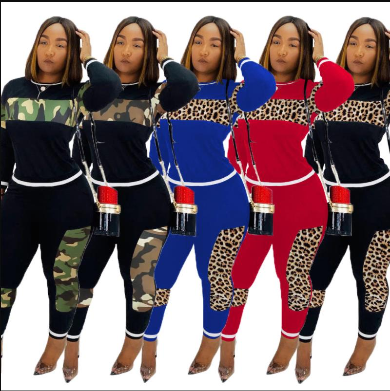 Fall Winter Leopard Print Splicing Women's Set Long Sleeve Sweatshirt Pants Suit Streetwear Two Piece Set Sporty Tracksuit CM611