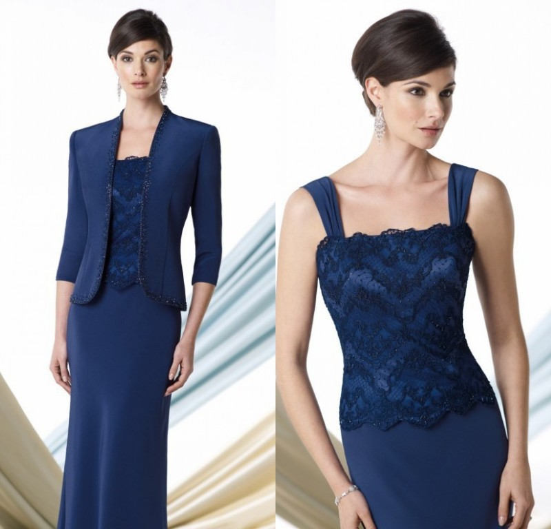Navy Blue Evening Dress Mother Of Bride 2015 New Fashion Bride Mother Jacket Dress Lace Top Formal Gowns