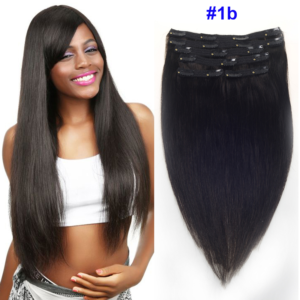 Sindra Human-Hair-Extensions Remy-Hair Clip-In Natural-Color Straight Brazilian 100g title=