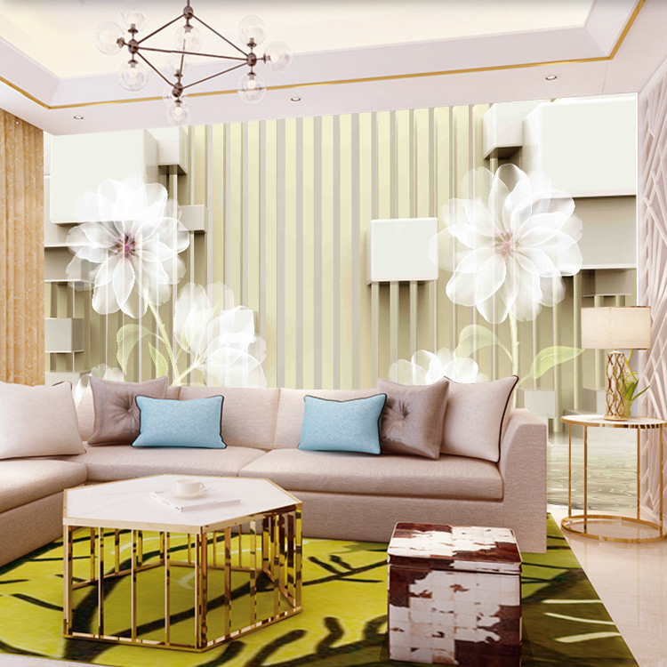 3D Living Room Television Background Wall Wallpaper Modern Minimalist Mural Personalized & Creative Film And Television Wallpape