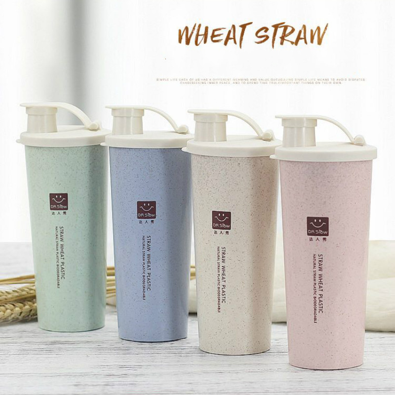 450ml Protein Powder Shaker Water Bottle Wheat Straw Free Mixer Sports Fitness Protein Shaker Milk Shake Bottle WF906920 image