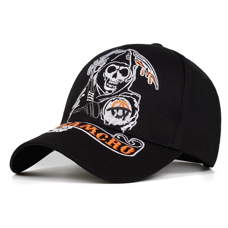 SAMCRO <font><b>Baseball</b></font> <font><b>Cap</b></font> SOA Sons of Anarchy Skull Embroidery Casual Snapback Hat Fashion High Quality Racing Motorcycle <font><b>Sport</b></font> hat image
