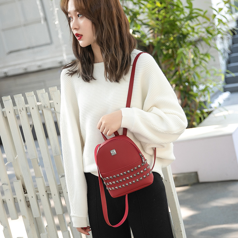 2019 Fashion Span Fashionable Double Shoulder Bag With Willow Nails Korean Version Cute Student Small Backpack Trend
