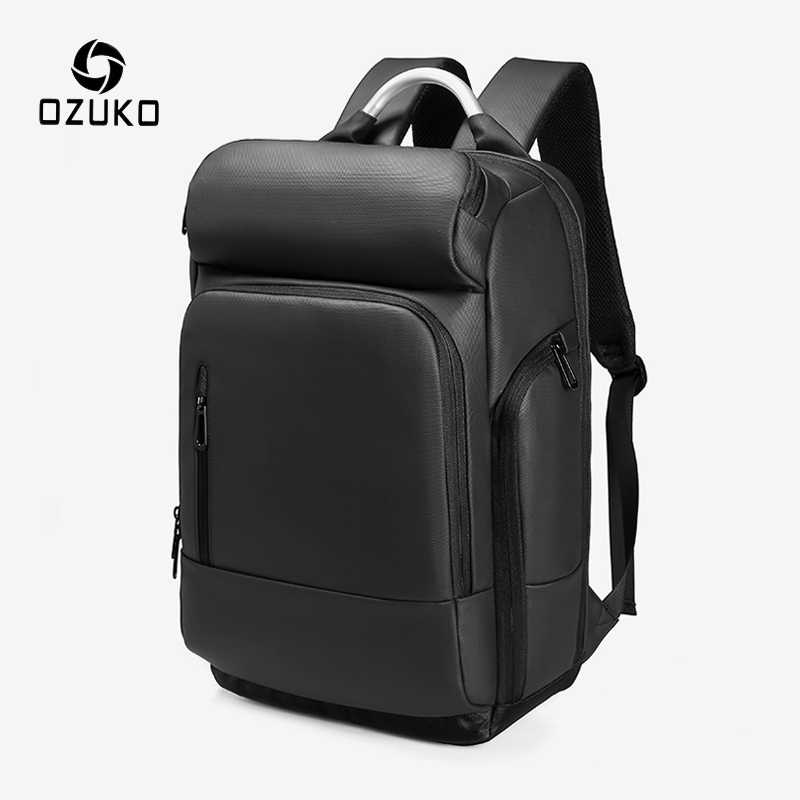 OZUKO Men 15.6 inch Laptop Backpacks Multifunction USB Charging Backpack Mens Waterproof Travel Bag Male Casual Business Mochila