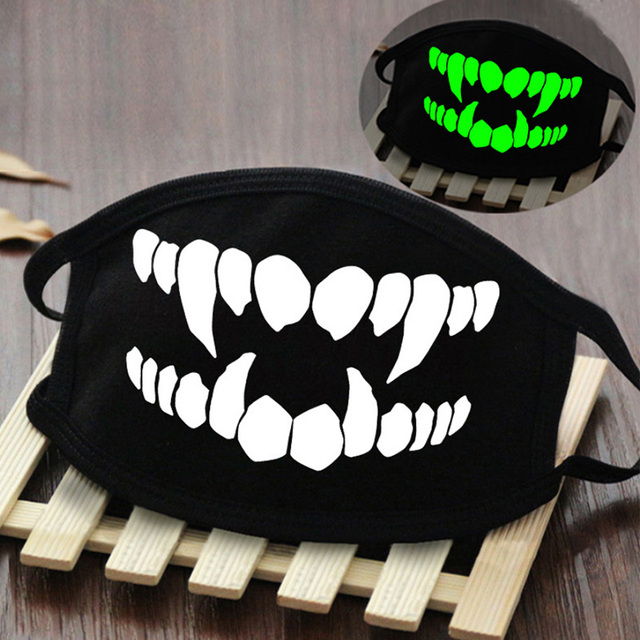 Holographic Kpop Cotton Funny Mouth Mask Fashion Skull and Teeth Graphic Black Face Mask Streetwear Party Clubwear Masques 3