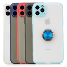 Transparent Armor Matte Case For iPhone 7 8 6 6s Plus 11 Pro XS MAX X XR Finger Ring Magnetic Stand Car Holder Phone Cover Coque