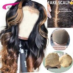 Carina Brasilianische Lose Tiefe Spitze Front Menschliches Haar Perücken PrePlucked 13*3 Honig Blonde Remy Ombre Farbe Glueless Perücke mit Highlight