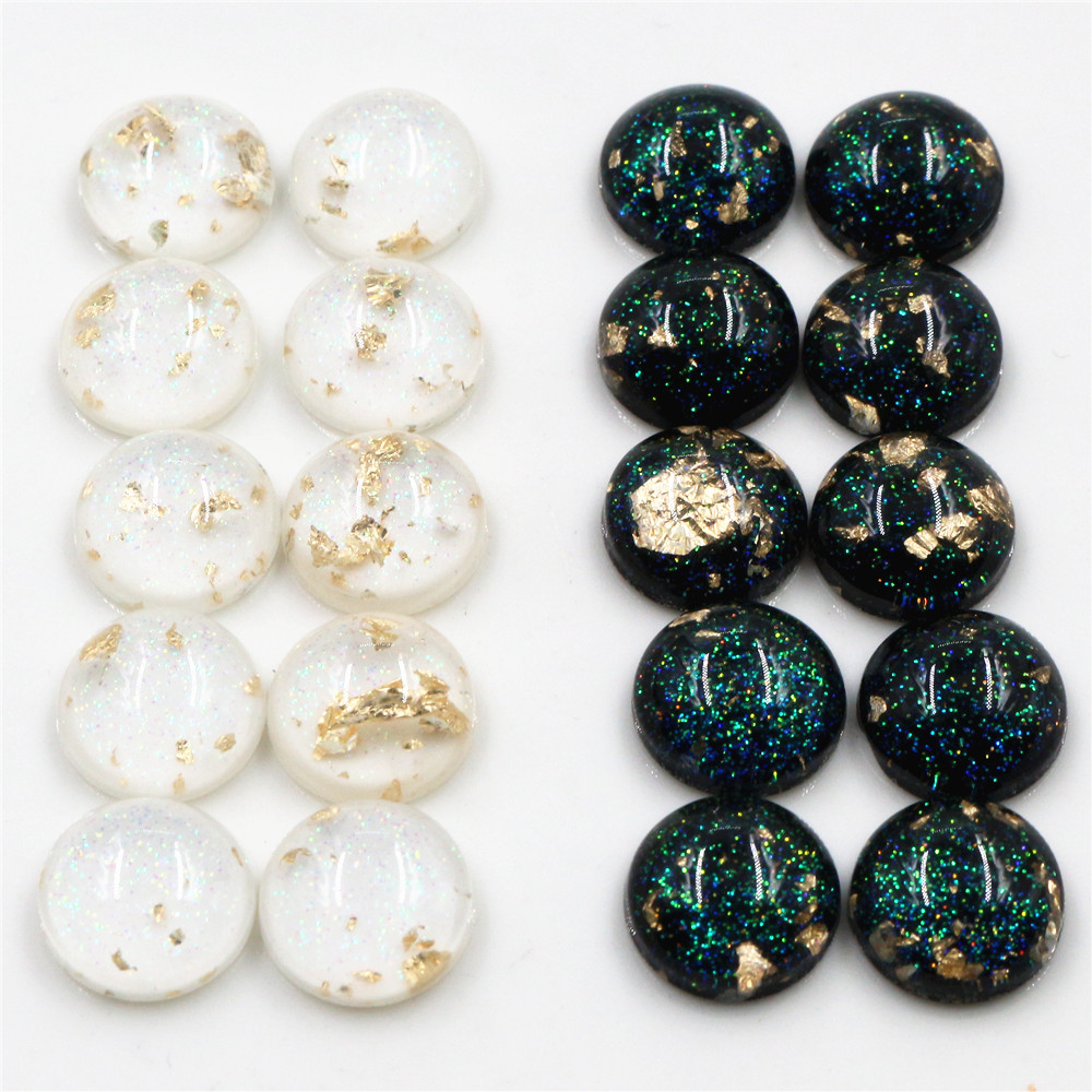 New Style 40pcs 12mm Black White Built-in Gold Leaf Style Flat Back Resin Cabochons Fit 12mm Cameo Base Cabochons