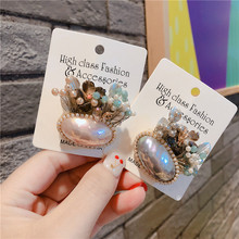 Vintage Pearl Shell Flower Brooches Pins Badges For Woman Fashion Jewelry Korean Handmade брошь значки-JQE
