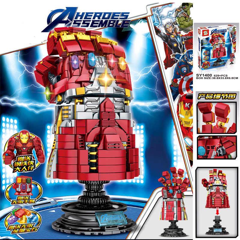 Marvel Super Heroes Avengers 4 Endgame Arma Thanos Infinity Gauntlet Mjolnir Stormbreaker Legoings Blocchi per I Bambini Giocattoli Regalo