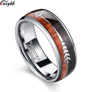 Rings Wedding-Bands Wood-Arrow-Inlay Tungsten Carbide Natural Womens Double Comfort 8mm