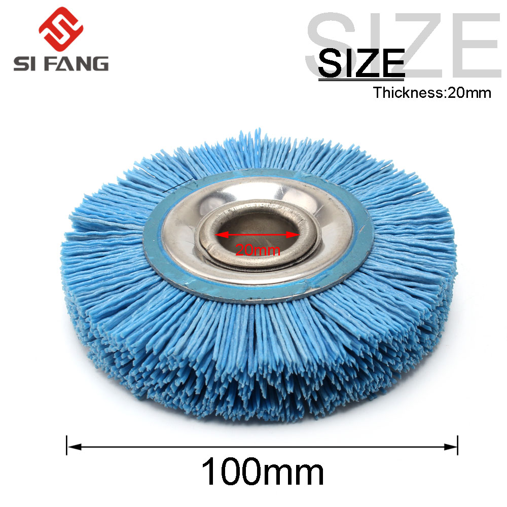100mm 120 Grit Abrasive Nylon Wire Wheel Polish Bench Grinder 20mm Bore Diameter