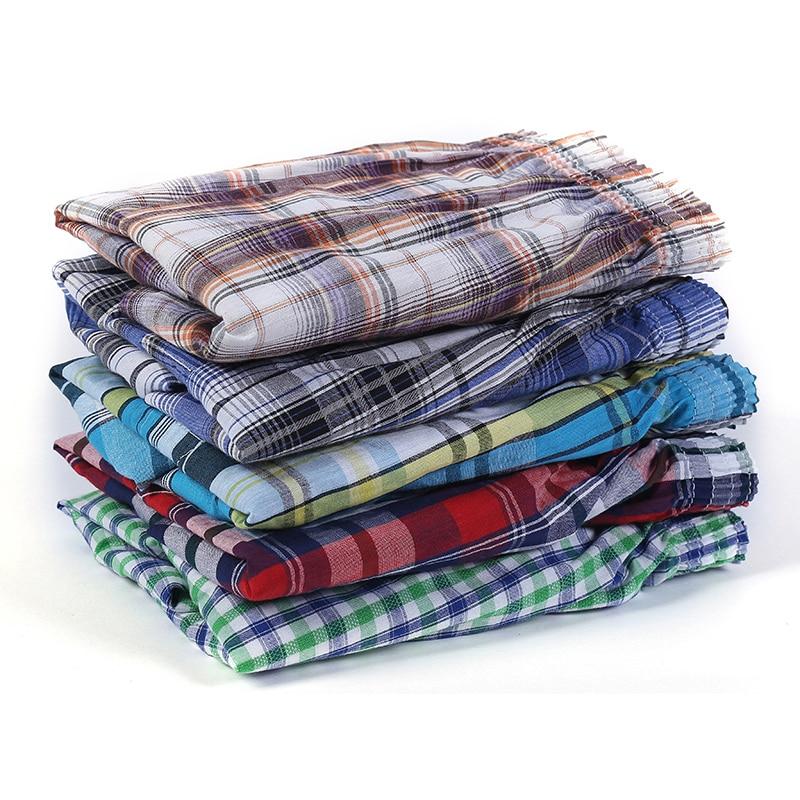 5 adet erkek iç çamaşırı boksörler şort rahat pamuk uyku külot kaliteli ekose gevşek rahat ev tekstili asya boyutu