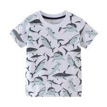 Модные короткие футболки из хлопка для мальчиков от 2 до 7 лет Megalodon с изображением акул, морской рыбы, белого кита, акулы, Baskingshark