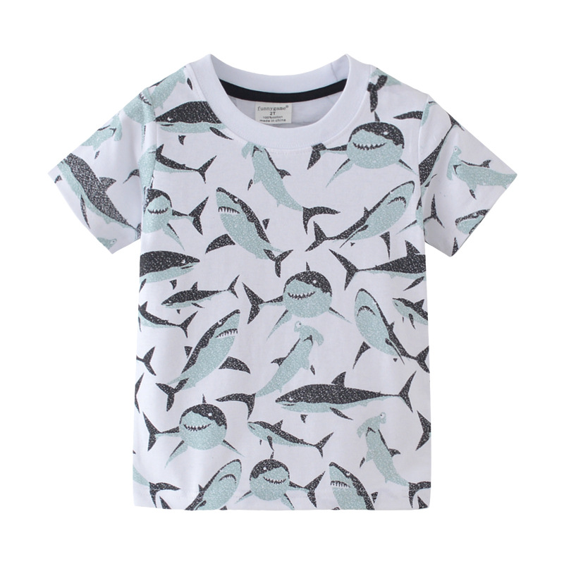 T-Shirts Short Whale Sharks Sea-Fish-Attacker Megalodon Kids Boys Fashion Cartoon White title=