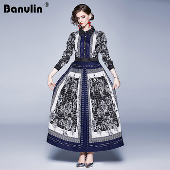 Banulin Runway Designer Autumn Vintage Print Long Sleeve Maxi Pleated Dress Women Elegant Party Vestidos Robe Femme New banulin summer runway designer bow neck pleated dress women lace patchwork floral print elegant holiday midi dress vestidos