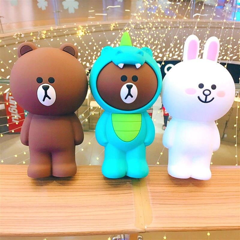 Korean Cartoon Bear Silica Gel Makeup Bags Soft Women Cosmetic Case Kawaii Large Capacity Pencil Bag Stationery Suitcase Tools