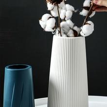 Plastic Vase Flower-Basket Nordic-Decoration Ceramic Imitation White