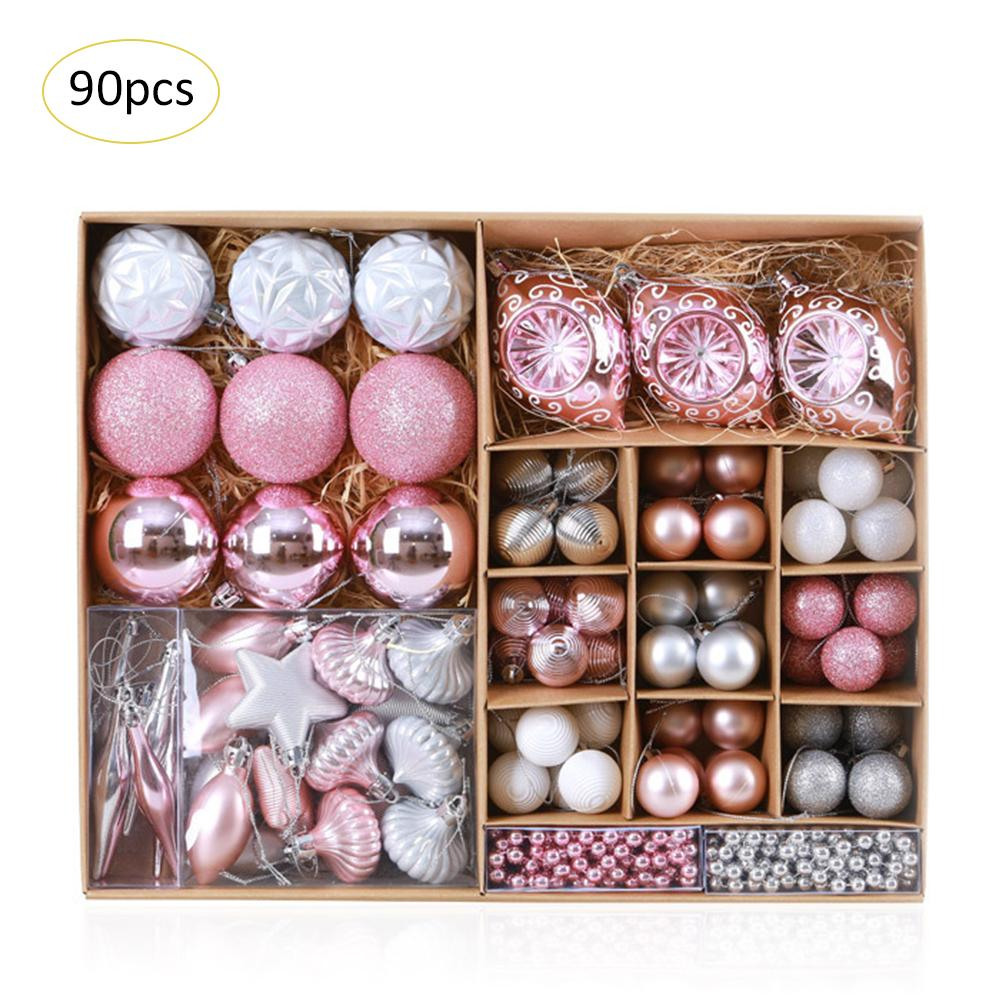 Hot 90 Pcs/Set Christmas Ball Assorted Ornament Tree Hanging Pendants Christmas Decorations Home Hanging Crafts Party Supplies