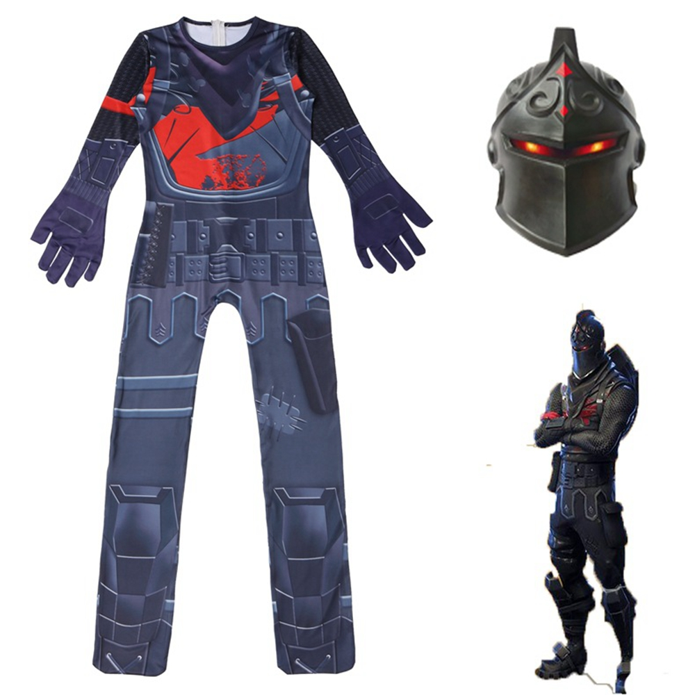 Game Black Knight Costume Battle Royale Cosplay Jumpsuit Mask Kids Children Carnival Party Clothes Zentai Bodysuit Suit