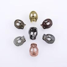 Wholesale Vintage Hollow Skull Big Hole Beads Fit Bracelet European Bead Charm Death Head For DIY Necklace