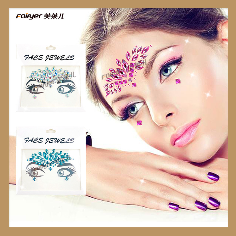 New Style Eyebrows Drill Acrylic Diamond Music Festival Diamond Face Pasters Canthus Popular Europe And America Makeup Facial St