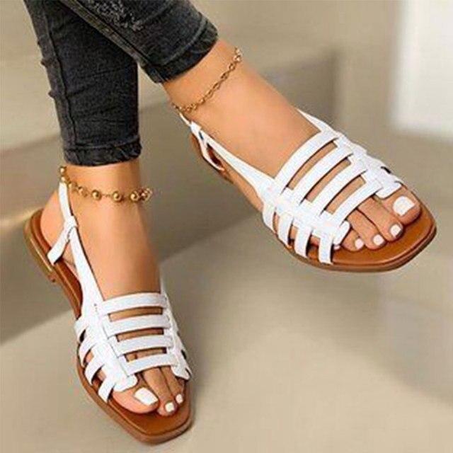 2020 sandalias de mujer gladiador de Punta abierta Casual zapatos de playa de mujer ahuecados planos de mujer calzado de verano al aire libre talla grande 4