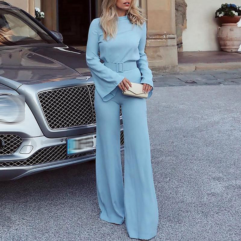 Spring Women Fashion Elegant Office Workwear Casual Chiffon Jumpsuits High Neck Flare Sleeve Wide Leg Romper Jumpsuit With Belt