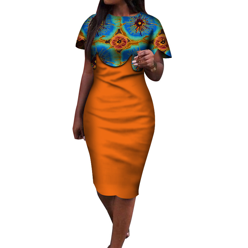 2020 Summer African Dress for Women Africa Bazin Riche Print Spliced Bodycon Elegant Mid-Calf Lady Women Midi Dress WY3932