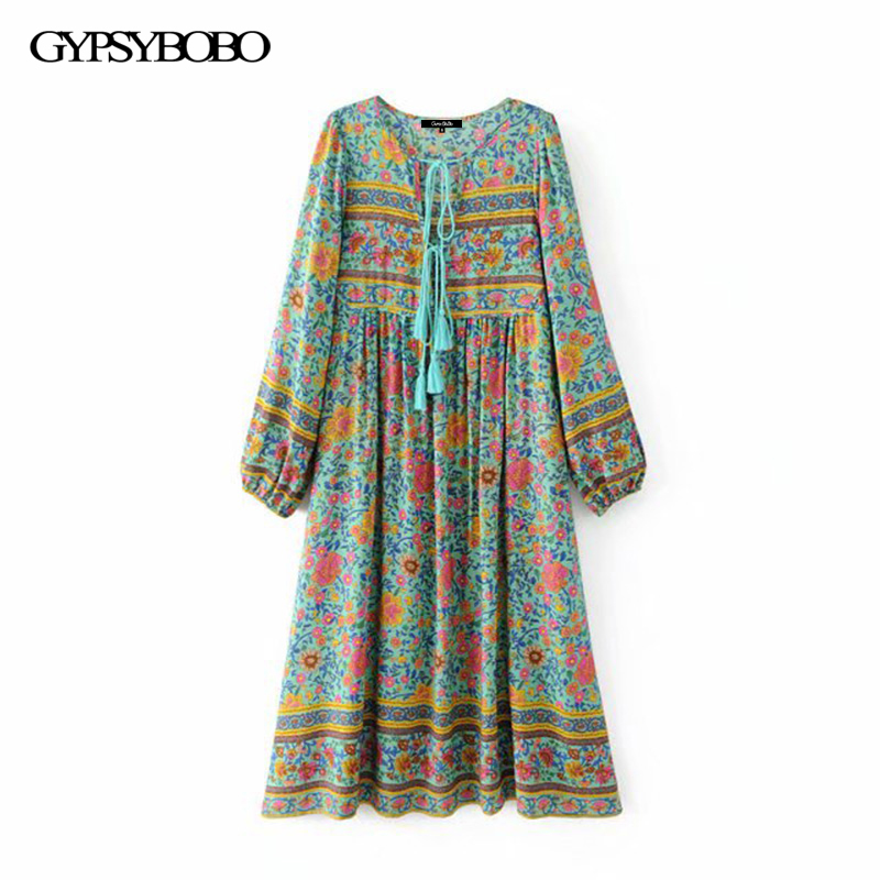 Boho Chic Summer Vintage Floral Print Long Dress Women 2018 Fashion Clothing Lace Up Tassel Pleated Beach Dresses Femme Vestidos