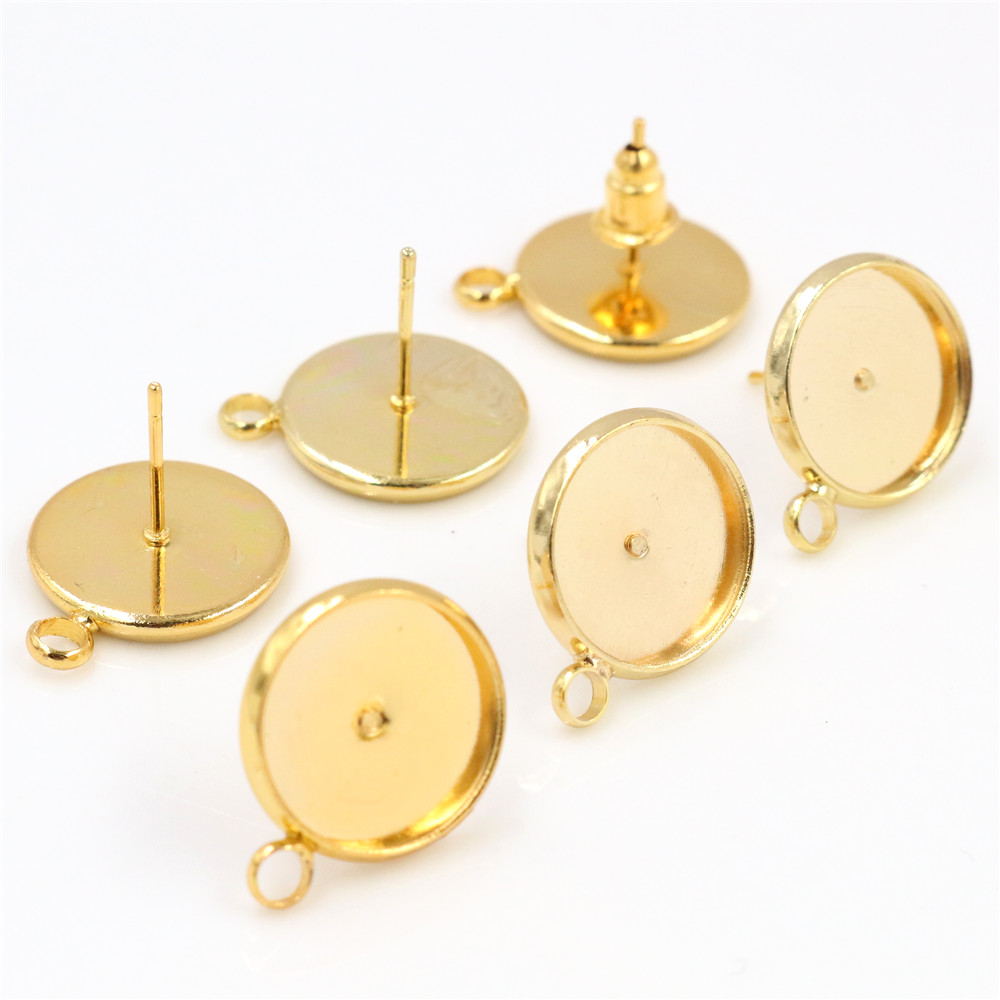 12mm 10pcs Gold Colors Earring Studs,Earrings Blank/Base,Fit 12mm Glass Cabochons,Buttons;Earring Bezels (T2-08)