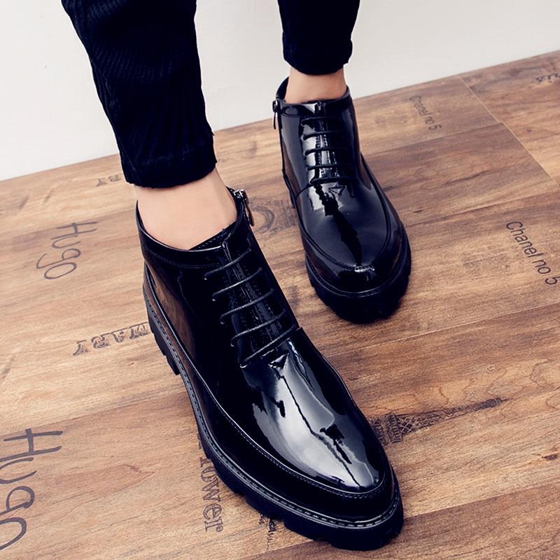 Hidden Heels 6cm Patent Leather Boots Men Autumn New Fashion High Quality Black Cowboy Boots Mens Dress Boots Botas De Trabajo