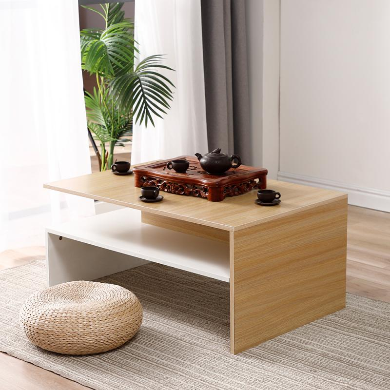 Café Tables Furniture Tea Table Magazine Shelf Double Layer Living Room Furniture Wooden Rectangle Bedroom Office Modern Black