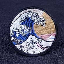 Pulaqi Great Wave Patch DIY Sea Wave Van Gogh Embroidered Iron On Patches For Clothing Outdoor Patch On Clothes Appliques Stripe collabro westcliff on sea