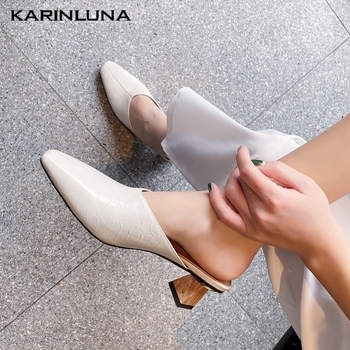 KarinLuna 2020 New Fashion Genuine Leather Women Mules Sandals Strange Style Heels Square Toe Pumps Summer Casual Women Shoes