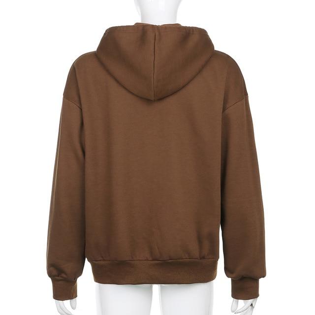BiggOrange Brown Zip Up Sweatshirt Winter Jacket Clothes oversize Hoodies Women plus size Vintage Pockets Long Sleeve Pullovers 3