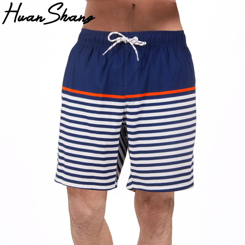 Huan Shang Men Quick-Dry Beach Shorts Breathable Waterproof Casual Sports Pants With Lining Stripes