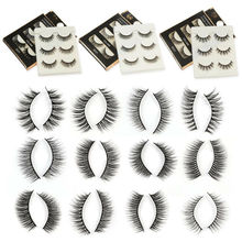 3 Pairs Natural False Eyelashes Beauty Makeup Thick Cross Voluminous Messy 3D Fake Eye Lashes Extension Tools Cosmetic Faux Cils