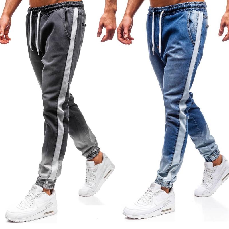 Summer Hip Hop Men Blue Jeans Slim Fit Pants With For Men Side Stripe Pocket Jeans Pencil Pantalones