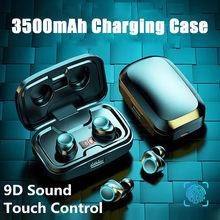 TWS Bluetooth Earphones 3500mAh Charging Case Wireless Headphones 9D Stereo Waterproof Earbuds Type C Cable Headsets Microphone
