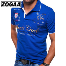 Mens Short Sleeve Polo Shirt Fashion Letter Printing Casual Shirts for Men Polos Clothes 2019 ZOGAA