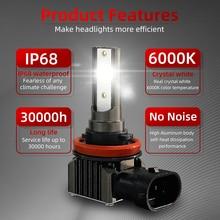 H11 LED 헤드 라이트 전구 무선 H7 H4 HB3 HB4 9005 9006 H8 H9 6000K 화이트 8000K 블루 12V 플러그 앤 플레이 얼음 전구 2PCS
