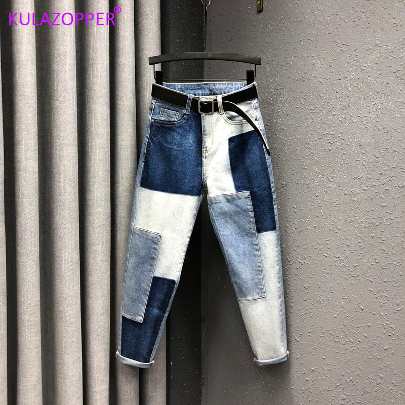 Slightly Elastic Jeans Mujer 2019 Plus Size Pants Women Jeans Large Size Denim Patch Harlan Cuff Pencil Femme Jeans Woman Zh193 Jeans Aliexpress