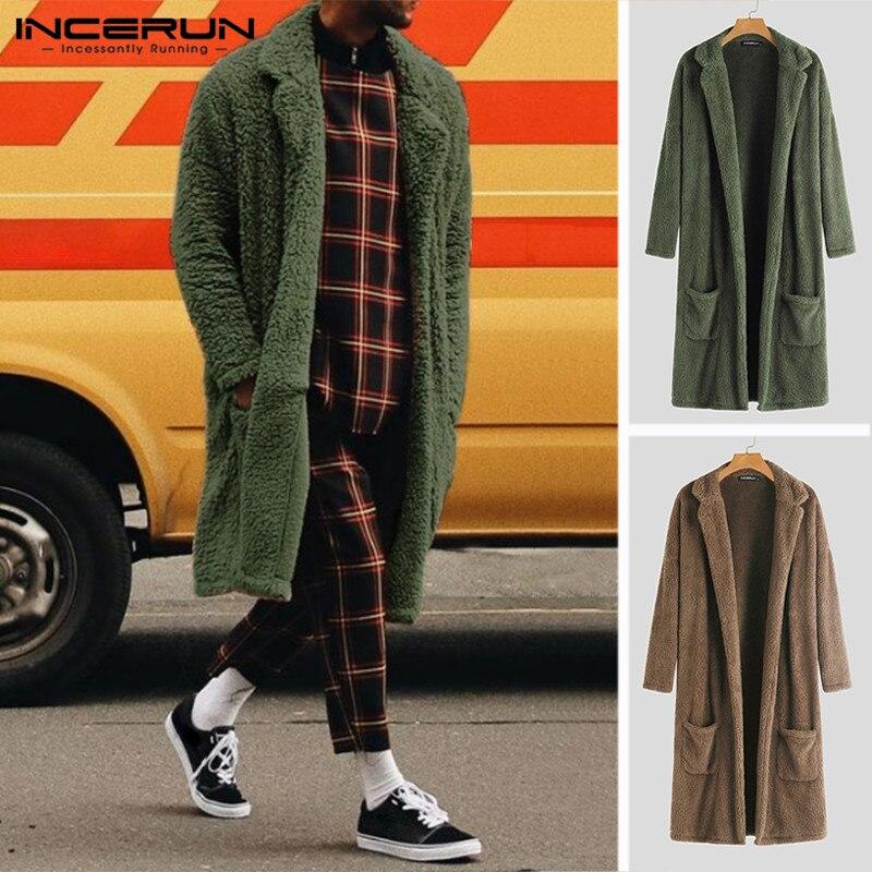 INCERUN Winter Fashion Men   Trench   Outerwear Solid Faux Fleece Long Cardigan Long Sleeve Streetwear Overcoat Fluffy Jackets Coats