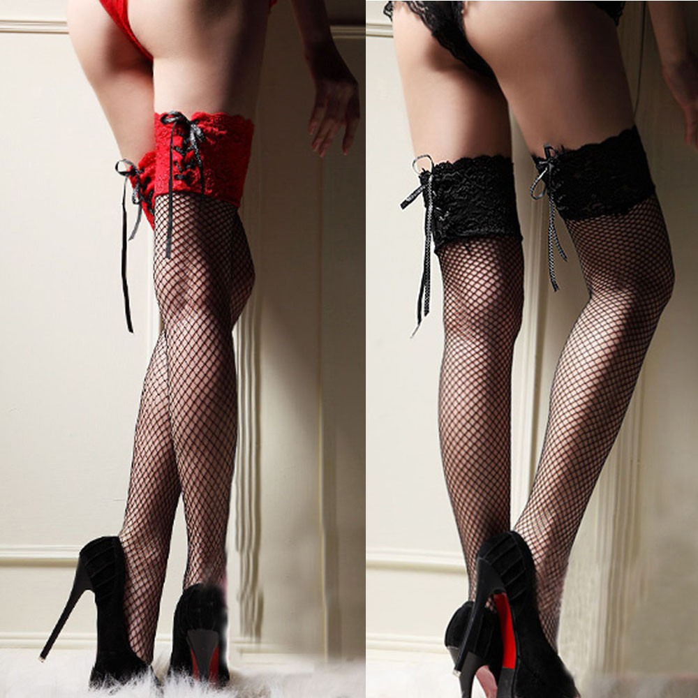 Hot Fishnet Sexy Costumes Womens Lace Top Thigh High Stockings Sexy Lingerie Erotic Babydoll Porno Lenceria Mujer Sexy Underwear